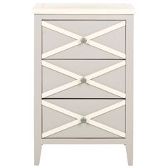 "Same width (14.9"") as the 2-drawer, but 28"" high instead of 21"" Sherrilyn Grey 3 Drawer Side Table @LaylaGrayce"
