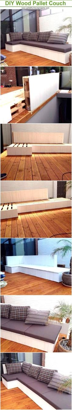 DIY Wood Pallet Cushioned Couch | Pallet Furniture Projects. by palletfurnitureprojects