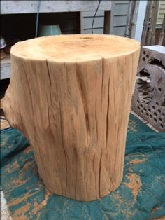 Reclaimed sinker cypress side table with natural finish by Natural Creations.