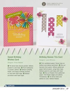 Paper Crafts & Scrapbooking - January 2014 - Page 49 - Banner Trio card featuring Sizzix dies and stamps