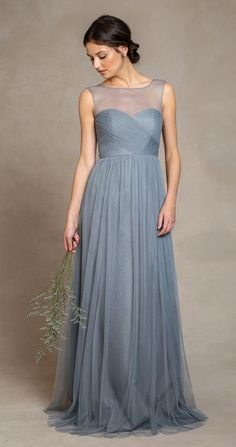 Elegant Dusty Blue Bridesmaid Dresses 2015 Illusion Bateau Neckline Pleats Bodice A Line Floor Length Tulle Evening Dresses