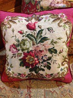 Gorgeous antique needlework pillow.