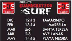 Circuito Guanacasteco de Surf 2016 Circuit Schedule
