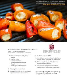 Fire Roasted Peppers with Feta recipe from the Wellness Kitchen. If you are lucky enough to have leftovers, try 2-3 peppers in your favorite sandwich! YUM.