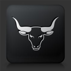 Black Square Button with Bull Head Icon vector art illustration Logo Branding, Branding Design, Logo Design, Toros Tattoo, Carnicerias Ideas, Bull Painting, Cow Drawing, Stick Wall Art, Taurus Tattoos
