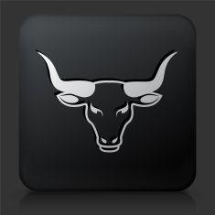 Black Square Button with Bull Head Icon vector art illustration Taurus Logo, Taurus Man, Longhorn Tattoo, Toros Tattoo, Carnicerias Ideas, Bull Painting, Cow Drawing, Stick Wall Art, Taurus Tattoos