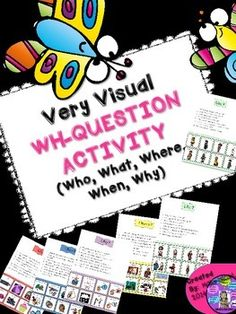 This activity enables student to practice answering Who, What, Where, Why, and When questions with eight answer choices presented with pictures. This is helpful to students with autism, auditory processing concerns, attention deficits or language delays. Repinned by SOS Inc. Resources pinterest.com/sostherapy/.