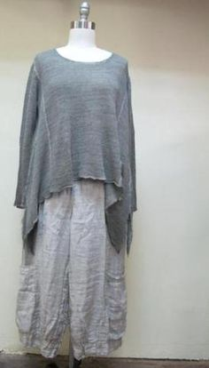 - Asymmetrical Oversize Look Linen Sweater Top - 80% Linen 20% Cotton - Hand Wash Cold - Made In Lithuania - Taupe and Blue