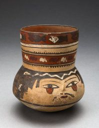 Nazca South coast, Peru  Beaker Depicting Human Head and Rows of Geometric Motifs, 180 B.C./A.D. 500  Ceramic and pigment 14.3 x 12.7 cm (5 5/8 x 5 in.) http://www.artic.edu/aic/collections/artwork/91249?search_id=3&index=0