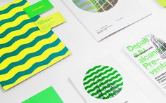 Logo, print with fluorescent spot colour detail and illustration by Anagrama for residential property development El Semillero. Layout Design, Print Design, Graphic Design, Corporate Design, Branding Design, Charity Branding, Property Branding, Presentation Deck, Sustainable Environment