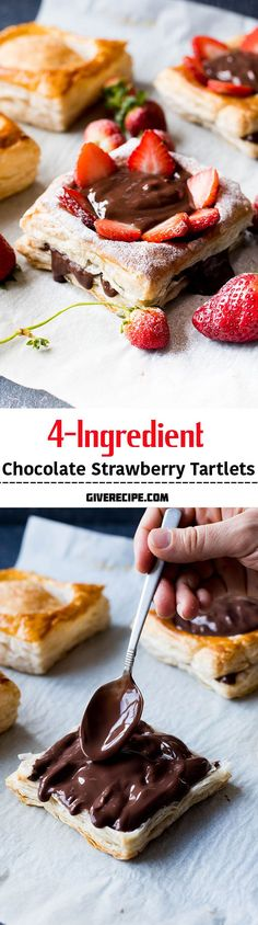 4-Ingredient Chocolate Strawberry Tartlets are ready just in 30 minutes! These are perfect for any occasions! Get admired with little work! | giverecipe.com | #puffpastry