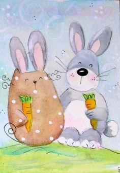 original watercolor ACEO- happy cat bunny carrot easter- acquarello gatto