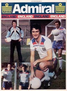 England advert with Admiral in Retro Football, Football Kits, Vintage Football, Football Cards, Football Soccer, England Kit, Football Reference, Goalkeeper Shirts, English Football League