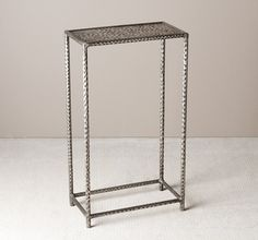 Interlude Khan Drink Table. A rectangular surface and hammered texture gives this iron drink table in an antique silver finish a hand-wrought, sophisticated feel. – Modish Store
