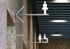 Effective wayfinding design - using cut icons for toilet signage Environmental Graphic Design, Environmental Graphics, Web Banner Design, Japan Design, Wc Public, Toilet Signage, Bathroom Signage, Wc Sign, Wayfinding Signs