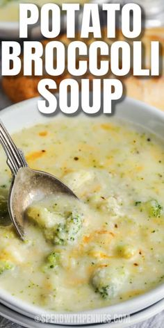 Cheddar Broccoli Potato Soup, Easy Broccoli Soup, Potato Cheese Soups, Broccoli Soup Recipes, Creamy Potato Soup, Easy Soup Recipes, Cheddar Cheese, Cooking Recipes, Potatoe Soup Recipe Easy