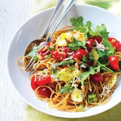 Linguine with Brie & Raw Tomato Sauce - Clean Eating - Very good!  Perfect for summer!  Increase veggies and everything except pasta for a more loaded salad!