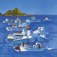 One of Rita Angus's best-loved paintings, Boats, Island Bay , celebrates the landscape and community of Wellington's south coast. Fishing boats twist and bob on the tide, with the island of Tapu te Ranga on the horizon. Angus's friend Betty Curnow. New Zealand Art, Nz Art, Kiwiana, Artist Painting, Art History, Folk Art, Fine Art Prints, Island, Image