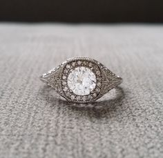 Antique Art Deco Halo White Sapphire Diamond by PenelliBelle