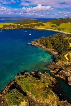 Aerial view of a serene cove in Waikare Inlet, the Bay of Islands in the Northland region of the north island of New Zealand.By: Blaine Harrington