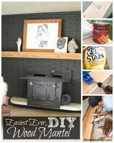 How to make the easiest ever DIY wood mantel @remodelaholic #fireplace #black #brick