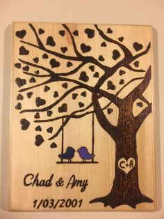 This Customized Wedding/Anniversary Sign is burned in and a clear finish was applied to seal and protect the wood for many years to come with acrylic paint. I used Navy Blue on the left birdie and Dee More