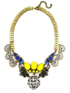 This necklace won't need any other fashion piece with it than a simple top.  The necklace with its bright jewels speaks for itself!  #crystal #necklace #statement #bauble #jewelry #nail #polish #pink #gold #stone #pendant #neckcandy #neckparty#earrings #jewels #flowers #rhinestone #crystal #studs #jewelry #fashion #style