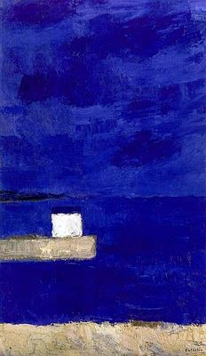 I especially love French painter, Bernard Cathelin's - abstracted landscapes--so bold and simple but rich in c. Pen And Wash, Love French, Pen And Watercolor, Klein Blue, French Artists, Abstract Landscape, Painters, Random, Inspiration