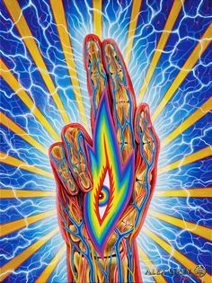 Blessing - 2008, acrylic on linen, 30 x 40 in. Alex Grey