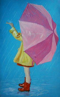 in 2019 дождливые дни, картины, дождь. Umbrella Painting, Rain Painting, Umbrella Art, Illustrations, Illustration Art, Rain Art, Love Rain, Rain Drops, Rainy Days