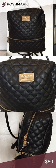 BEBE DANIELLE QUILTED BLACK Backpack Purse New without Tags Authentic Bebe Quilted Faux-leather Top Handle with Adjustable Backpack Strap Zip Around Closure with Exerior Zipper Pocket Twill Lining with One Zip Pocket, Laptop Slot & 2 Slip Pockets bebe Bags Backpacks