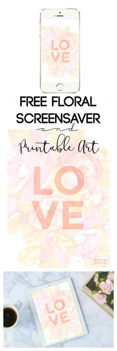 Get your FREE Floral iPhone, iPad Wallpaper and Printable Art Download! This beautiful floral graphic is perfect to frame for your gallery wall or make it your iPhone and iPad screensaver! Makes a great wedding, shower, baby nursery and Valentine's Day idea too!