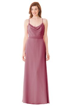 Cowl neck bodice with spaghetti straps. Removable waist sash. Center back zipper. | Style: 1667 #bridesmaids #weddings