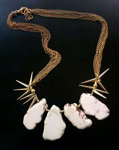 ombre statement necklace, howlites in gold