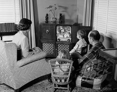 Gathered around the 1950's tv set