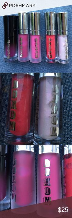 5 Buxom BN Lip polish, cream & lipstick Sephora I have 5 brand new and never open 2ml size of Buxom Lip Polishes, Liquid Lipstick and Lip Cream. These are delux sample sizes of the colors i can't wear (they they will great on someone else). From left to right: Criminal (Liquid lipstick), Berry Bramble (Lip Cream), Berry Blast (Lip Cream) , Nicole (lip Polish) and Emma (Lip Polish) sold as a set of 5. Never Used and Never Swatched. Sephora Makeup Lip Balm & Gloss