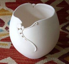 Cindy Weaver, White Porcelain Bowl, Pueblo and Art Nouveau Influences