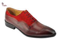 Hommes de deux tons en cuir véritable et en daim rouge Oxford Richelieu à  lacets Smart