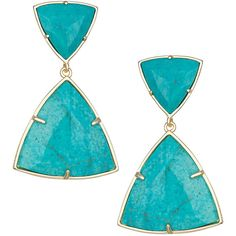 Kendra Scott Maury Turquoise Magnesite Earrings ($96) ❤ liked on Polyvore featuring jewelry, earrings, turquoise earrings, triangle earrings, 14k jewelry, turquoise jewellery and kendra scott jewelry