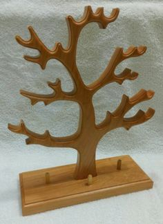 Jewelry tree Melting Glass, Springfield Illinois, Jewelry Tree, Scroll Saw, Wood Art, Bookends, Christmas Ideas, Art Projects, Trees