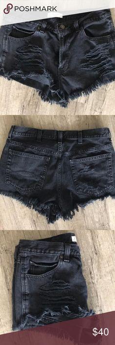 8e234da6 Abercrombie destroyed high waisted shorts Good condition, stylish high  waisted black denim shorts Abercrombie &