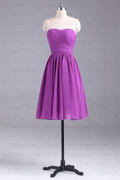 A-line Sweetheart Knee-length Sleeveless Purple Chiffon Simple Prom Dress Bridesmaid Dress Evening Dress Party Dress 2013 With Lace up back