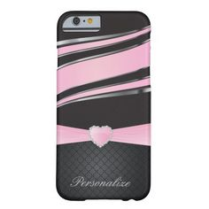 Elegant #Black, #Silver and #Pink Ribbon Jewel  #Metal Design #iphone6 #zazzlebesties #zazzle #shopping