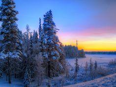 Download Wallpaper 1152x864 Sunset, Winter, Trees, Landscape 1152x864 HD Background