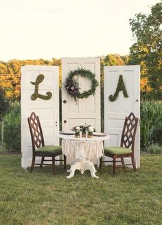 Doors behind the sweetheart table :)