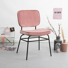 By-Boo Eetkamerstoel 'Vice' Velvet, kleur roze Dining Room Chairs, Dining Table, Home Decor Furniture, Interior Styling, Home Office, Living Spaces, Modern Design, Table Settings, New Homes