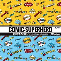 PAPELES DIGITALES DE CÓMIC-SÚPER HÉROES / 24 papeles digitales con fondos de cómic-súper héroes Aquí puedes ver MÁS PAPELES DIGITALES DE CÓMIC-SÚPER HÉROES DISPONIBLES en mi tienda: https://www.etsy.com/shop/eltendedero/search?search_query=superhero+digital+paper+pack ---------------------------------------------------------------------------------------------- RECIBIRÁS / ------------------------------------------------------------------------------...