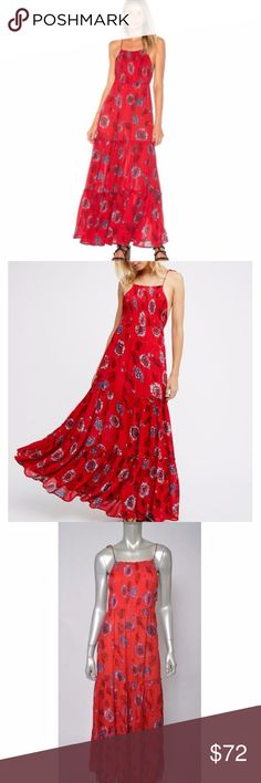 Free People Intimately New Garden Maxi Red Dress M Free People Intimately New Garden Maxi Red Floral Long Peasant Boho Dress sz M Total length is 54 inches. Bust is 36 inches, unstretched New without tags Free People Dresses Maxi