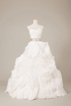 Asymmetrical Ruffled Organza Wedding Dress on Etsy, $750.00