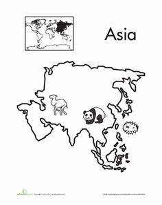 Kindergarten Places Worksheets: Color the Continents: Asia Give your kindergartener an introduction to the seven continents with fun coloring pages! Here's Asia, the most populated continent in the world. Geography For Kids, Geography Lessons, Maps For Kids, Teaching Geography, World Geography, Montessori Materials, Montessori Activities, Around The World Theme, Continents And Oceans